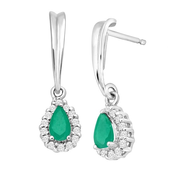 3/8 ct Natural Emerald & 1/6 ct White Sapphire Drop Earrings in Sterling Silver