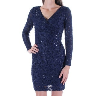 RALPH LAUREN $174 Womens New 1136 Blue Sequined Lace Sheath Dress 0 Petites B+B