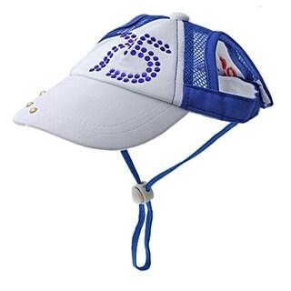 Size M Pet Dog Blue White Cap W Crystal Decor