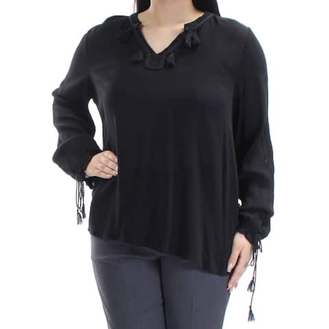 JOHN PAUL RICHARD Womens Black Tie Long Sleeve V Neck Hi-Lo Top Size: L