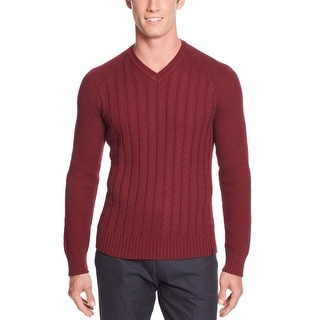 Calvin Klein CK Cable V-Neck Knit Sweater Large L Crushed Cherries Red