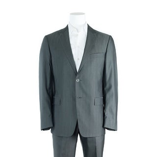 Versace Collection Gray Textured Wool Blend Two Button Suit - 42