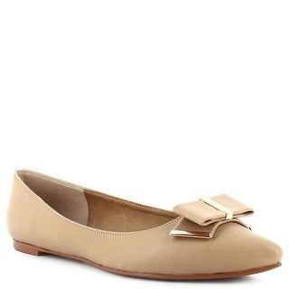 Ceresnia Adult Beige Gold Bow Embellished Trendy Slip On Flats