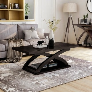Furniture of America Hali Contemporary Brown Solid Wood Coffee Table