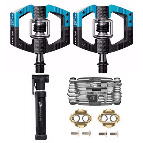 Crank Brothers Mallet Enduro Bike Pedals (Blue) with Multi-Tool & Pump