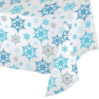 "Club Pack of 12 Blue Snowflakes Christmas Holiday Rectangle Tablecovers 54"" x 102"