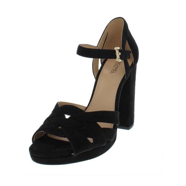 234e24e4ec0 MICHAEL Michael Kors Womens Annaliese Platform Peep-Toe Heels Suede High  Heels - 7 Medium
