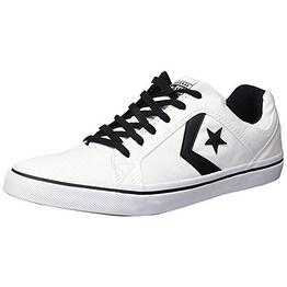 Converse Men's EL Distrito Canvas Low Top Sneaker, WhiteBlackWhite