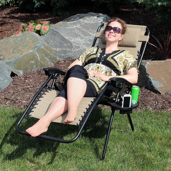 Sunnydaze Khaki Zero Gravity Lounge Lawn Chair with Pillow and Cup Holder