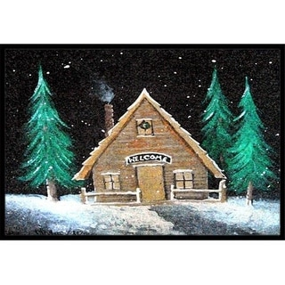 Carolines Treasures PJC1090JMAT Welcome Lodge Christmas Log Home Indoor & Outdoor Mat 24 x 36 in.