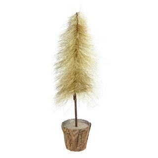 "15.5"" Gilded White Christmas Decorative Gold Bottle-Brush Style Table Top Tree - Unlit"