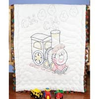 """Train - Stamped Baby Quilt Top 36""""X50"""""""