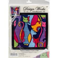 """Colorful Cat Needlepoint Kit-12""""X12"""" Stitched In Yarn"""