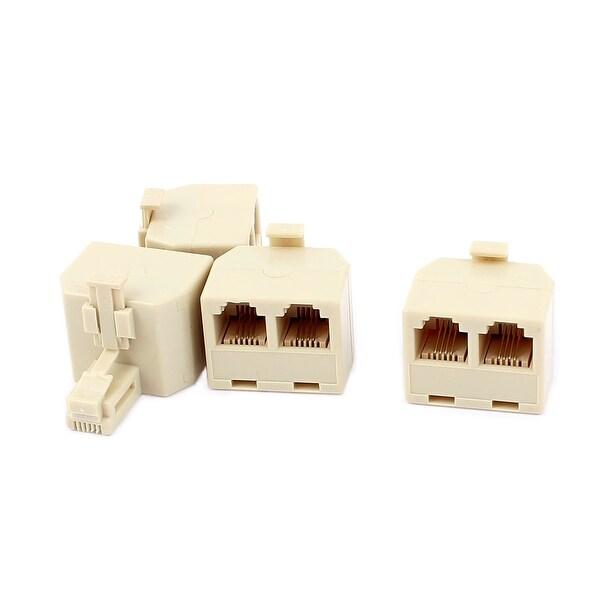 Unique Bargains 4Pcs Double 616E 4P4C RJ11 Female Telephone Network Connector Adapter
