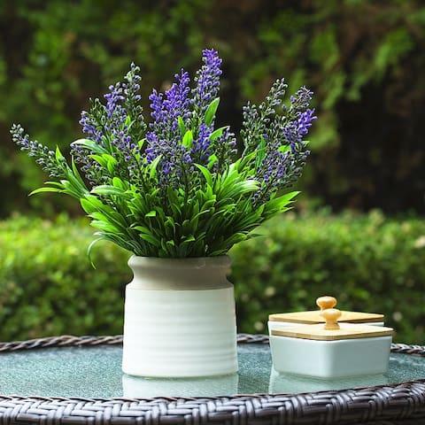 Enova Home Artificial Lavender Floral Fake Flowers Arrangement in Pot for Home Office Garden Decoration