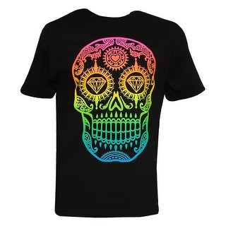 Mens Black Short-Sleeve Diamond Skull T-Shirt