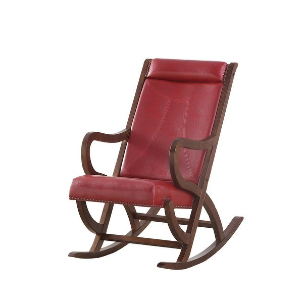 "38"" X 22"" X 36"" Wood and Upholstered (Seat) Rocking Chair, Burgundy PU & Walnut"