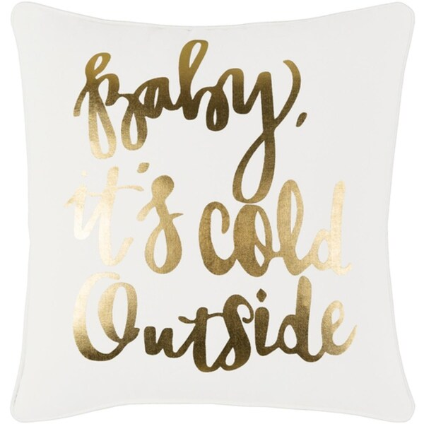 "18"" Snow White and Rich Gold Decorative ""Baby, Its Cold Outside"" Holiday Throw Pillow Cover"