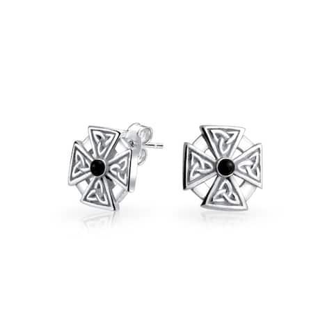 Maltese Cross Black Celtic Knot Cross Stud Earrings Sterling Silver