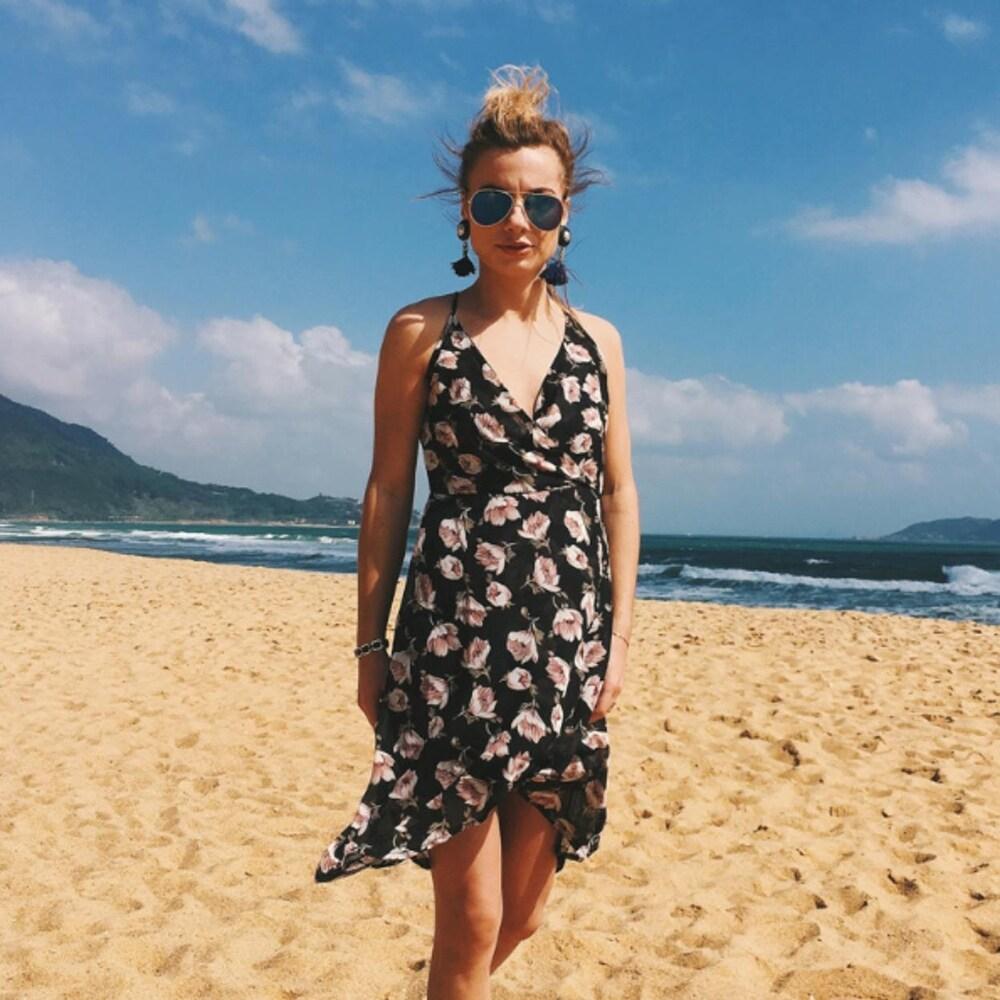 Women Summer Floral Printed Slip Dress Sexy V Neck Backless Tunic Sand Beach Dress
