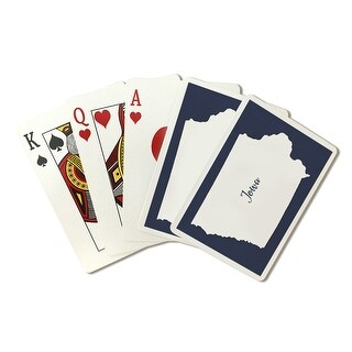 Iowa - Home State - White on Navy - LP Artwork (Poker Playing Cards Deck)