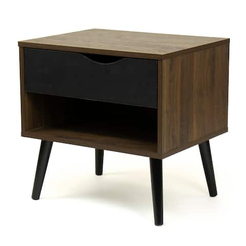 Humble Crew End Table Nightstand with Shelf and Drawer Storage, Dark Wood/Black - 54 x 84