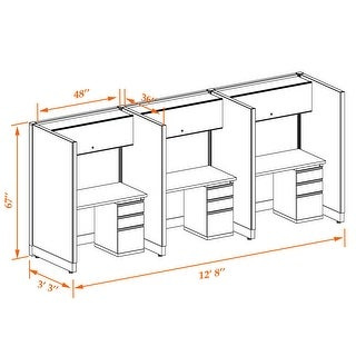 Tall Cubicles 67H 3pack Inline Unpowered (3x4 - Espresso Desk Silver Paint - Assembly Required)