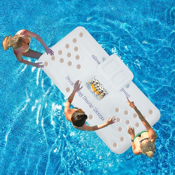 """71""""-Inflatable Floating Drink Holder with 28 Holes Large Capacity & Transparent Material, Drink Float - 71'' x 32'' x 4.7''. Opens flyout."""