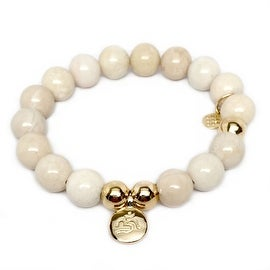 Ivory Jade Om Charm stretch bracelet 14k over Sterling Silver
