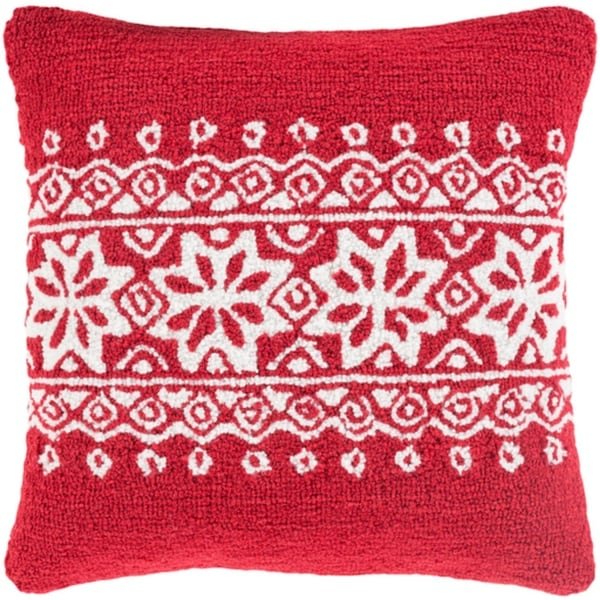 "18"" Santa Red and Snowy White Decorative Snowflake Christmas Throw Pillow –Down Filler"