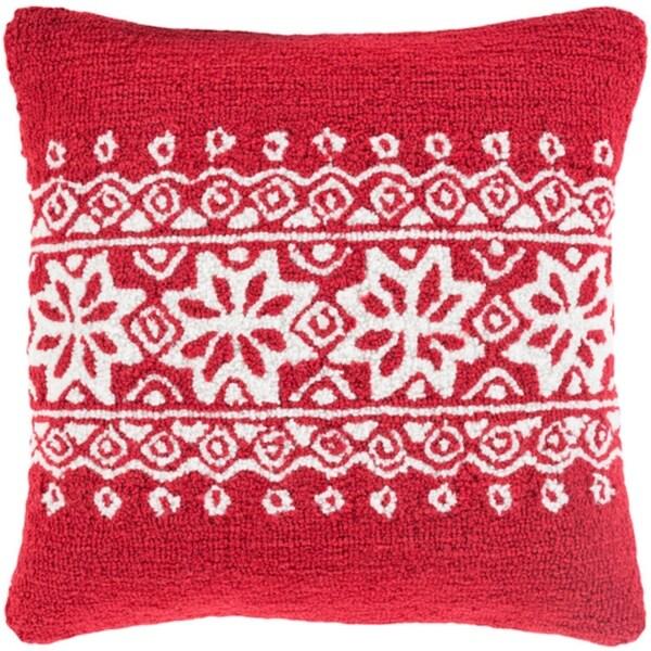 "18"" Santa Red and Snowy White Decorative Snowflake Christmas Throw Pillow"