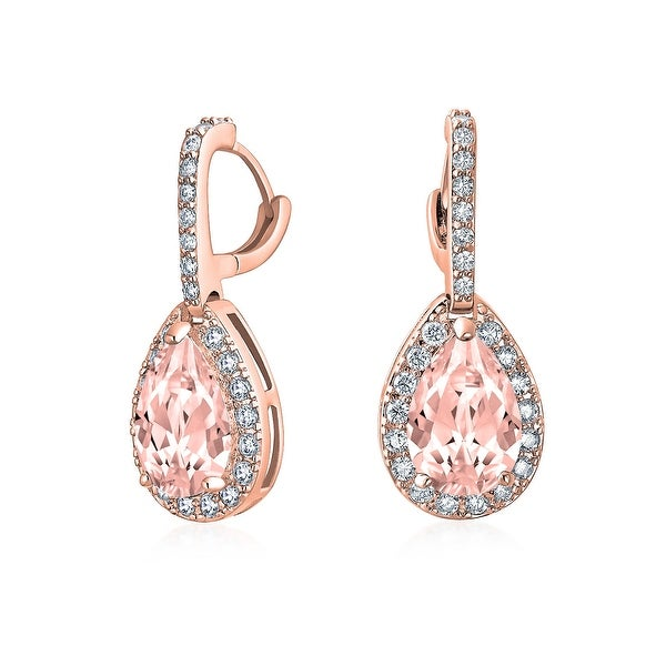 6b41d1262 Shop 5 CTW Pink Teardrop Pave Pear Shaped Cubic Zirconia Drop Huggie  Earrings CZ Imitation Morganite Rose Gold Plated Brass - On Sale - Free  Shipping On ...