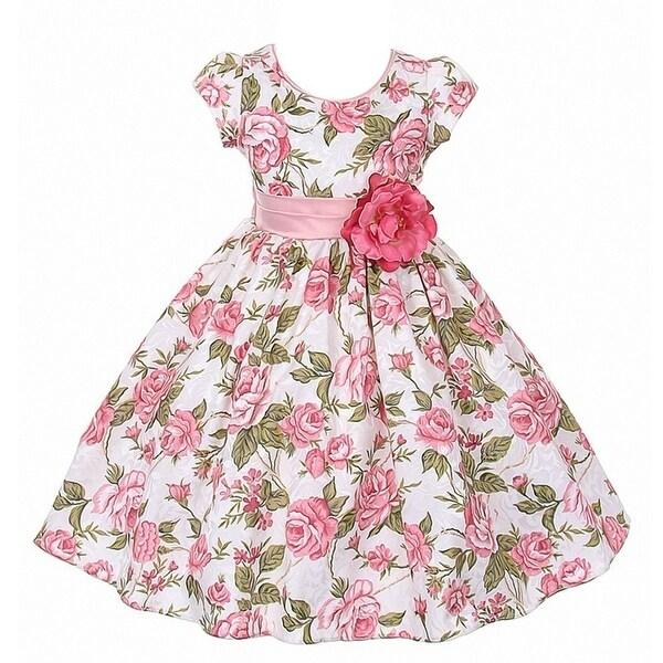 14aac2baf6b Good Girl Little Girls Dusty Rose Floral Print Jacquard Flower Girl Dress