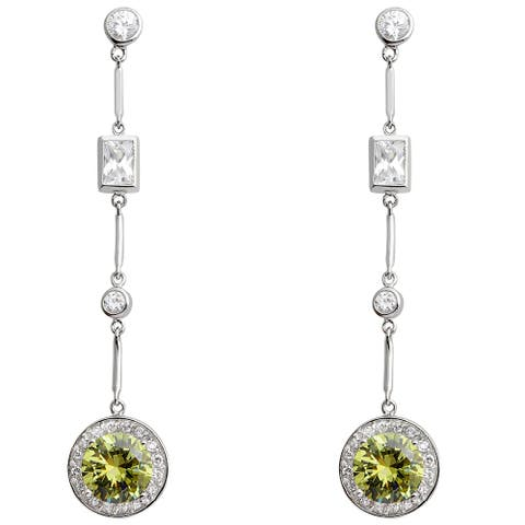 Cubic Zirconia Sterling Silver Round Dangle Earrings by Orchid Jewelry