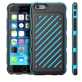 Insten Black/Blue Dual Layer Hybrid Rubberized Hard PC/ Silicone Case Cover for Apple iPhone 6/ 6s