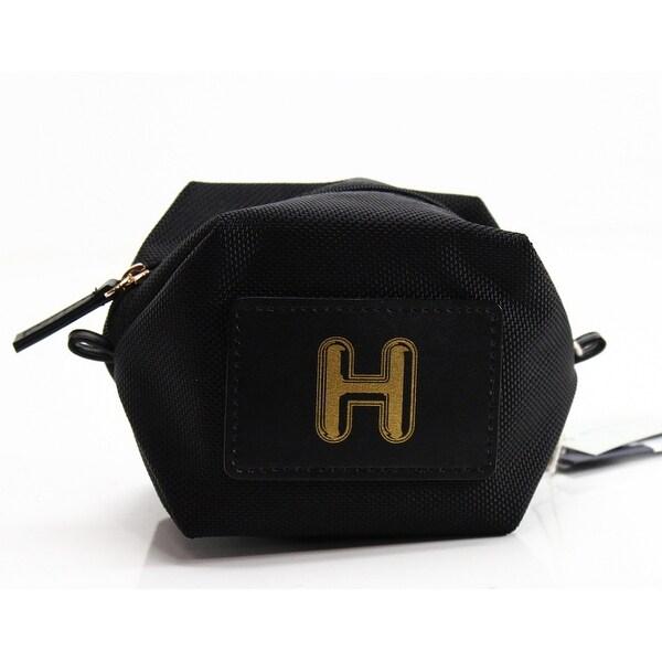 "Boulevard Jet Black Monogram ""H"" Nylon Bubble Pouch Mini Wallet"