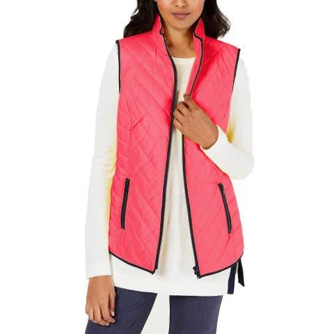 Charter Club Women's Contrast-Trim Zip-Front Vest Pink Size Large