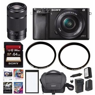 Sony a6000 Mirrorless Camera w/ 16-50mm & SEL55210B Lens & 64 GB SD Card Bundle