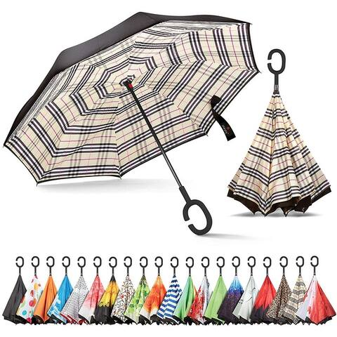 Inverted Windproof Reverse Umbrella for Women with UV Protection