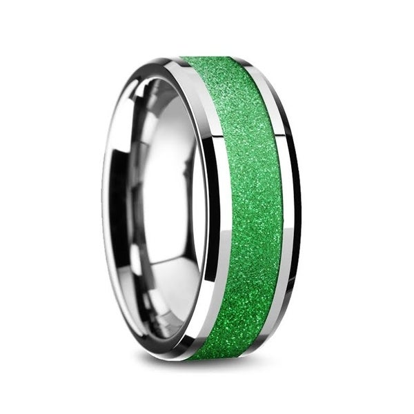 Lawrence Tungsten Carbide Bevel Edged Mens Ring With Sparkling Green Inlay