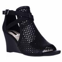 I35 Reiaa Caged Cutout Wedge Peep Toe Sandals, Black