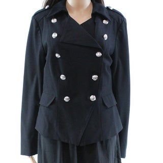 INC NEW Black Military Women's Size Large L Buttoned Collared Jacket
