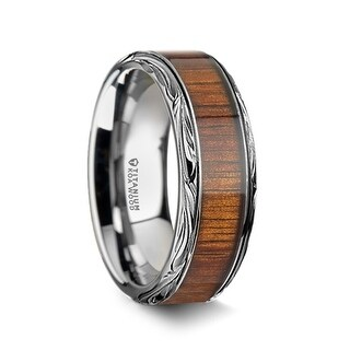 OHANA Koa Wood Inlay Titanium Men's Wedding Ring - 10mm