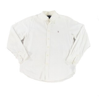 Ralph Lauren NEW White Ivory Size 16 Button Front Long Sleeve Shirt