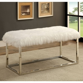 Link to Furniture of America Kika Contemporary 40-inch Fur Fabric Bench Similar Items in Living Room Furniture