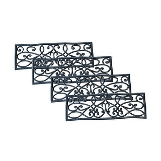 Offex Non Slip Heavy Duty Rubber Scrollwork Stair Tread - 4 Pack