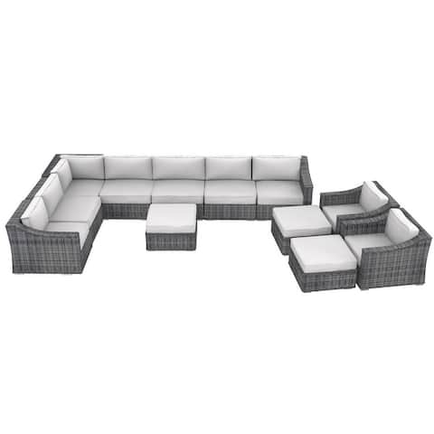 Cozy Corner Patios Luxury Series Garden Furniture  9 Seater Deep Seating Sectional Patio Furniture  12-Piece Outdoor Sectional