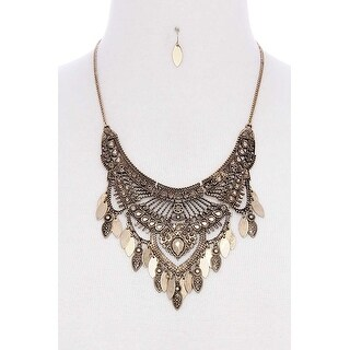 Antique Metal Pointed Oval Shape Dangle Bib Statement Necklace - Color - Gold Brown