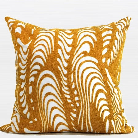 """G Home Collection Luxury Yellow Warp Chevron Embroidered Pillow 20""""X20"""""""