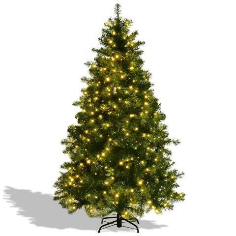 Pre-Lit Artificial PVC Christmas Tree w/ LED Lights & Stand-7'